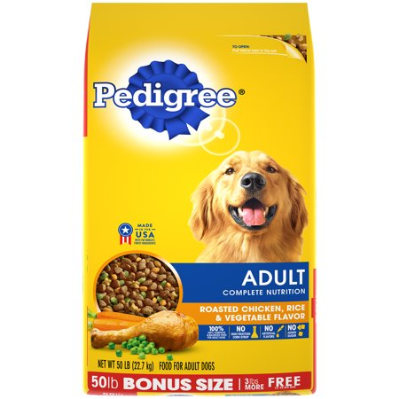 Pedigree Complete Nutrition Adult Dry Dog Food Roasted Chicken, Rice & Vegetable Flavor, 50 lb. (Brown Rice In Dog Food Good Or Bad)