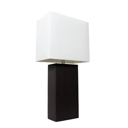 Elegant Designs Modern Leather Table Lamp with White Fabric