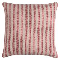 "Rizzy Home Ticking Stripe Cotton with Zipper Closer Decorative Throw Pillow, 20"" x 20"", Red"