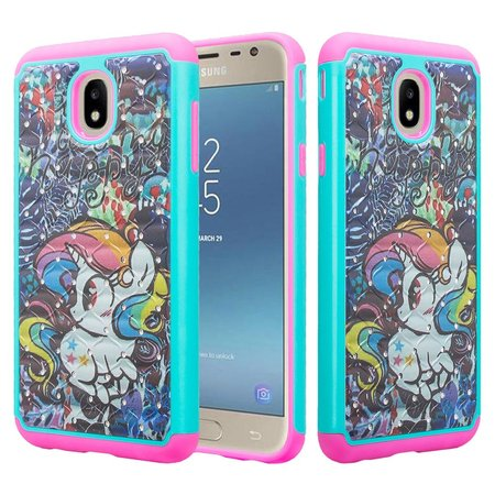 Samsung Galaxy J7 Crown Case,J7 Star Case,J7v 2nd Gen,J7 2018,J7 Refine Case Glitter Diamond Sparkle Bling Shock Proof Protective Phone Case Cover - Rainbow Unicorn