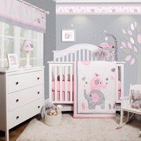 OptimaBaby Pink Grey Elephant 6 Piece Baby Girl Nursery Crib Bedding Set