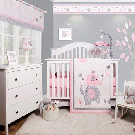 Optimababy Pink Grey Elephant 6 Piece Baby Girl Nursery