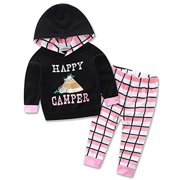 414d9b334 StylesILove Newborn Infant Toddler Baby Girl Happy Camper Long Sleeve Hoodie  and Plaid Pants Casual Clothing