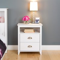 Prepac Yaletown 2-Drawer Tall Nightstand, White