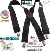 25096ac9dfe Wide XL Big and Tall Graphite Black Work Suspenders with Patented Silver  tone Jumbo No-