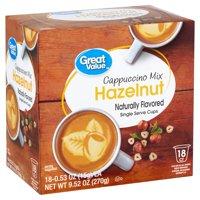 Great Value Hazelnut Cappuccino Mix, 0.53 oz, 18 count