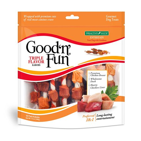 Good'n'Fun Triple Flavored Rawhide Kabobs Chews for Dogs, 12 (Dog Round Rawhide)