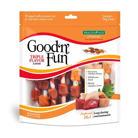 Good'n'Fun Triple Flavored Rawhide Kabobs Chews for Dogs, 12 oz.