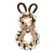 Way To Celebrate Easter Bunny Wreath with Blue and Tan Eggs