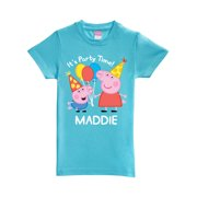 993f05f6c Personalized Peppa Pig Peppa and George Birthday Aqua Toddler Girls' Fitted  T-Shirt