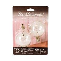 ScentSationals 25 Watt Replacement Wax Warmer Clear Light Bulbs, 2 Pack