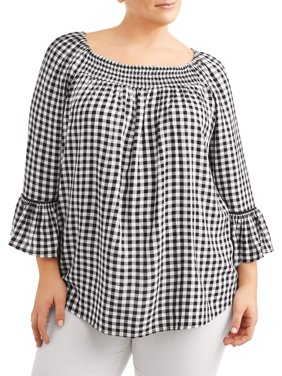 Women's Plus Size Woven Peasant Top