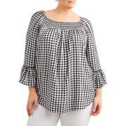 97d4e918051 Women s Plus Size Woven Peasant Top