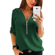 5e358878242cc Women Casual Zip Neck Tops Shirt Ladies V Neck Zipper Loose T-Shirt Fashion  Summer
