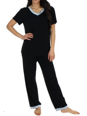 4a408bf160 Product Image Pajama Heaven Women s Sleepwear Bamboo Jersey V-Neck Top and  Pants Pajama Set With Satin