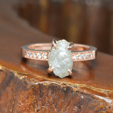 Four Claw 2.50 Carat Raw Rough Grey Diamond Solitaire Engagement Ring in 10k Rose (Claw Engagement Ring Setting)