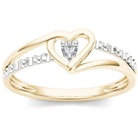 1/20 Carat T.W. Diamond Split Shank Two-Tone Heart 10kt Yellow Gold Fashion (10kt Two Tone Diamond Ring)