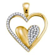 10K Yellow Gold 0.20ctw Fancy Sleek Fashion Micro Pave Diamond Heart Pendant