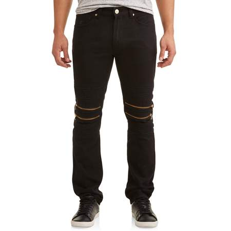 Men's Double Zip Moto Tapered Pants With Zipper Design