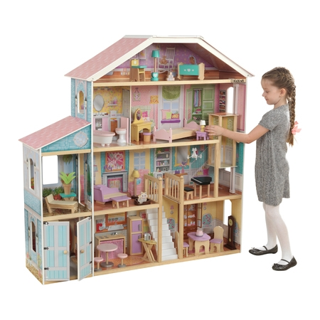 KidKraft Grand View Mansion Dollhouse with EZ Kraft Assembly and 34 Accessories Barbie Doll Dream House