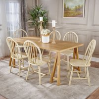 Amy Farmhouse Cottage 7 Piece Faux Wood Dining Set with Rubberwood Chairs, Natural Oak and Antique White