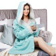 45d3777916 Plush Hooded Robe for Women Soft Warm Short Fleece Bathrobe
