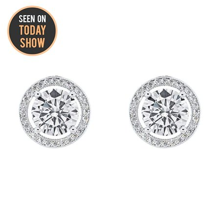 Cate & Chloe Ariel 18k White Gold Halo CZ Stud Earrings, Silver Simulated Diamond Earrings, Round Cut Earring Studs, Best Gift Ideas for Women, Girls, Ladies, Special-Occasion Jewelry - msrp (Sterling Silver Earring Jackets For Diamond Studs)
