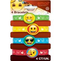 Emoji Rubber Bracelet Party Favors, 4ct