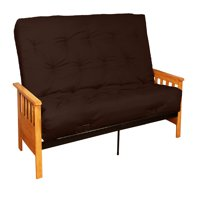 Arts & Crafts 10-inch Loft Inner Spring Futon Sofa Sleeper Bed, Full-size, Natural Arms, Twill Brown
