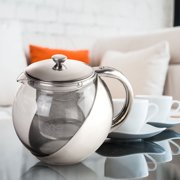 57ba22f9bf3 1Pcs Stainless Steel Glass TeaPot with Tea Leaf Strainer Filter Infuser  Silver 900ML,Silver