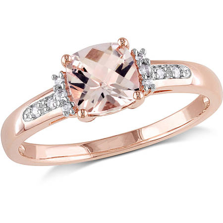 - 1 Carat T.G.W. Cushion-Cut Morganite and Diamond-Accent 10kt Rose Gold Cocktail Ring