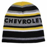 009fdcda5bb Chevrolet Mens Black   Gray Stripe Chevy Beanie Stocking Cap Winter Hat