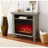 Mainstays Infrared Quartz Fireplace Heater with Storage Shelf, Gray Finish, FP405RGB
