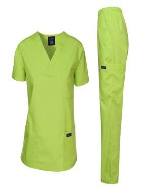 Dagacci Scrubs Medical Uniform Men Scrubs Set Medical Scrubs Top and Pantss (Brown, M)