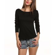 083babb1b247 Sexy Women Backless Tops T-Shirt Long Sleeve Casual Lace Open Back Blouse
