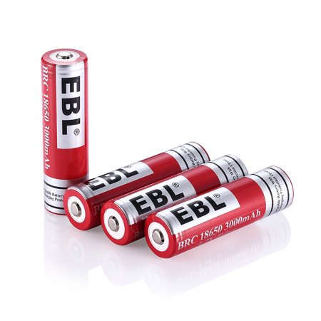 EBL 4-Pack 18650 Battery 3000mAh 3.7v Lithium-ion Rechargeable Batteries
