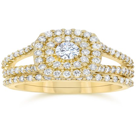 1.10Ct Cushion Halo Solitaire Diamond Engagement Wedding Ring Set Yellow Gold