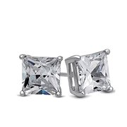 Surgical Stainless Steel Studs Earrings Men Women Girls Boys Square Princess Cut Basket Setting Cubic Zirconia