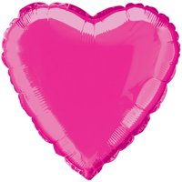 Foil Balloon, Heart, 18 in, Hot Pink, 1ct