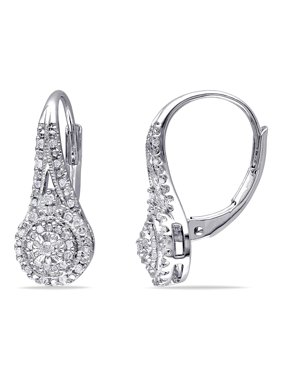 Miabella 1/4 Carat T.W. Diamond Sterling Silver Double Halo Earrings