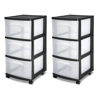 Sterilite 3 Drawer Cart, Black (Available in a Case of Two or Single Unit)