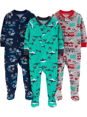 Long Sleeve Footed Pajamas Bundle, 3 pack (Toddler Boys)