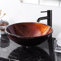 Aquaterior Tempered Glass Round Vessel Sink Pattern Above Counter Bathroom Lavatory Vanity Hotel Bowl Basin