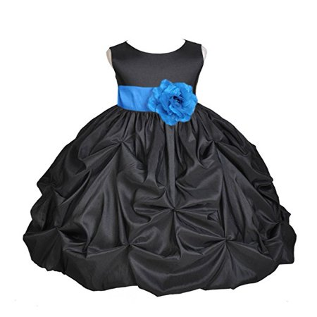 Ekidsbridal Black Satin Taffeta Pick-Up Bubble Flower Girl Dresses Junior Toddler Formal Special Occasions Wedding Pageant Dresses Ball Gown Dance Recital Reception Birthday Girl Party 301S