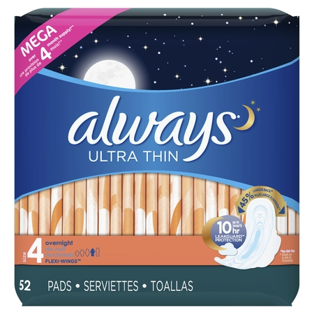 ALWAYS Ultra Thin Size 4 Overnight Pads With Wings Unscented, 52 (Always Radiant Infinity Overnight Pads With Flexi Wings)