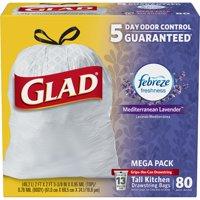 Glad OdorShield Tall Kitchen Drawstring Trash Bags - Febreze Mediterranean Lavender - 13 Gallon - 80 ct