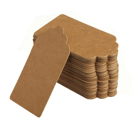 Rectangle Embossed Labels (100Pcs Kraft Paper Gift Tags Vintage Hang Tags Wedding Birthday Label Blank Luggage Card Rectangle Tags for Crafts & Price Tags Labels)