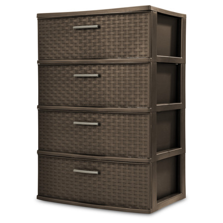 Sterilite, 4 Drawer Wide Weave Tower, Espresso ()