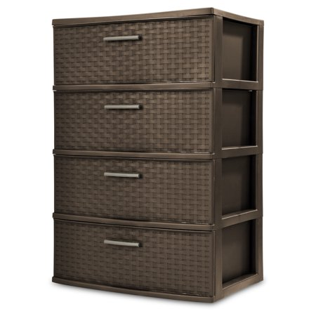 Sterilite, 4 Drawer Wide Weave Tower, Espresso (Triangle Weave)