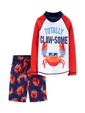 Long Sleeve Rashguard and Swim Trunks, 2pc Set (Baby Boys)